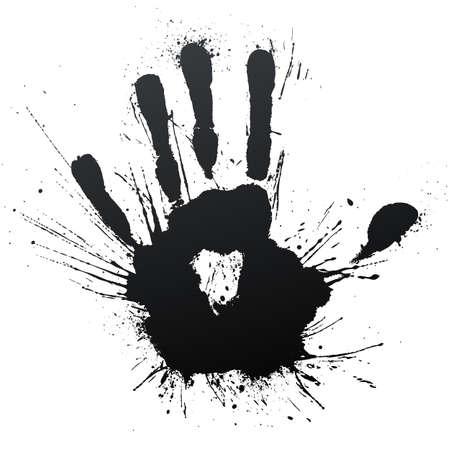handprint: illustration of a highly detailed ink splatter powerful blow handprint.