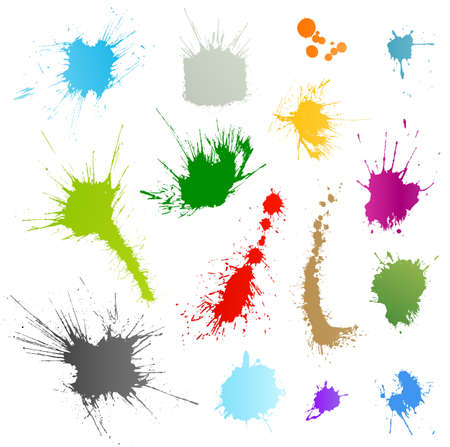 Collection of 15 different ink splatter symbol illustrations. Color coded and very highly detailed.