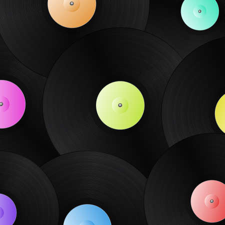 illustration of a simple highly detailed vinyl records background.