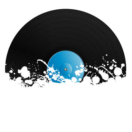 illustration of a vinyl record covered in ink splats. Grunge style with copy space.