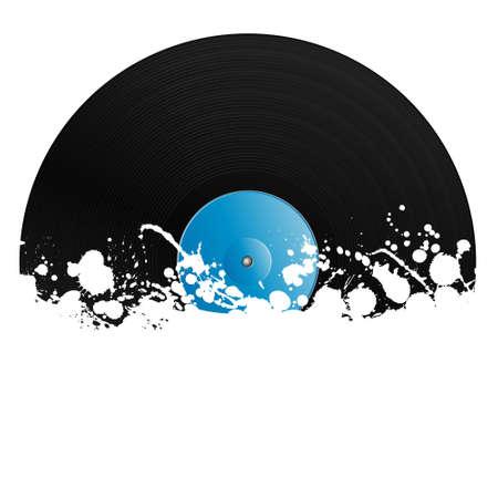illustratie van een vinylplaat bedekt met inkt markeringen. Grunge stijl met kopieer ruimte.  Vector Illustratie