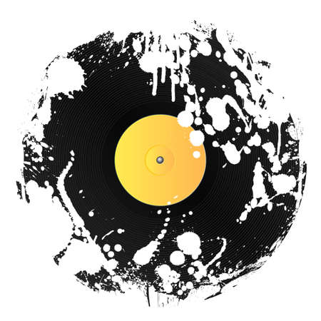 illustration of a vinyl disc covered in white ink splatters. Grunge style.