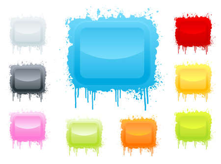 illustration of 9 differently colored beautiful glossy ink splatter retro boards. Illustration