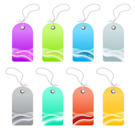 illustration of a collection of business wavy retro retail tags or labels. Modern waves and squares abstract textures. Eight color variations. Stock Vector - 6953116