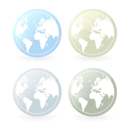 illustration of four mildly colored world map icons. Slight glossy effect and shadow.