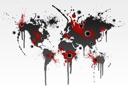 illustration of a grunge world map splatter with gunshot wounds. Globalization business or ecological catastrophe concept. Vector