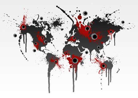 Ilustración de un mapa del mundo de grunge Gore con heridas de bala. Negocio de globalización o concepto de catástrofe ecológica.