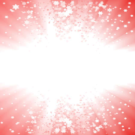 illustration of a magical red Christmas explosion of stars. Glowing light center for custom elements.