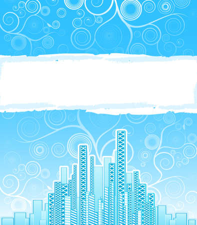 illustration of a modern urban background with floral spirals on the horizon and a big copy space sign. Vector