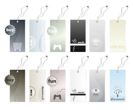 illustration of six different shopping tags in earth tones color variations in two versions. 12 tags in all.