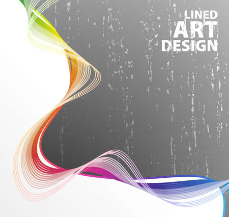 illustration of a retro lined art rainbow flow on a textured gray gradient wall.