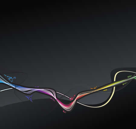 illustration of a retro lined art rainbow flow on a dark slick background.