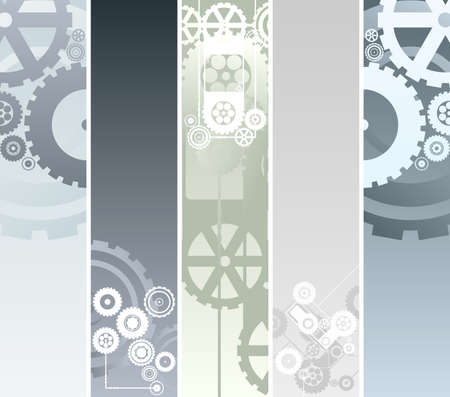 illustration of five vertical or horizontal banners with technological and mechanical pattern. Gearwork and cogs. Vector