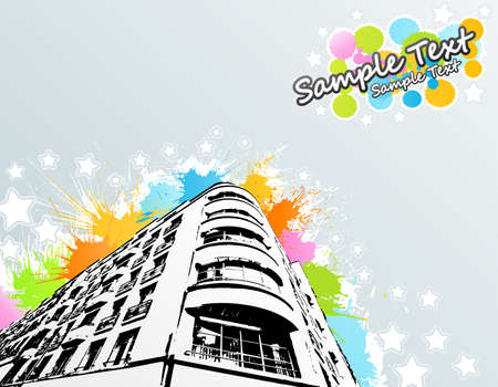 illustration of a roughly traced modern building with colorful splatter elements in the background with cheerful stars and lined art. Sample text in the corner. Illustration