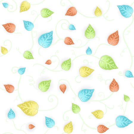 illustration of a floral leafs fresh blue and green seamless pattern. Mildly autumn colored.
