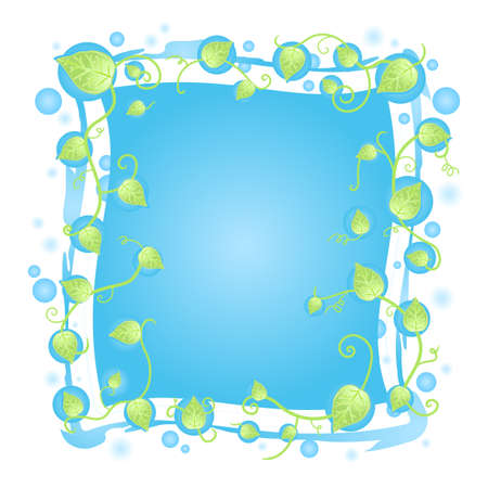 illustration of a fresh floral frame design with leaf vines border, blurred blue drops and funky details around the banner. Vector