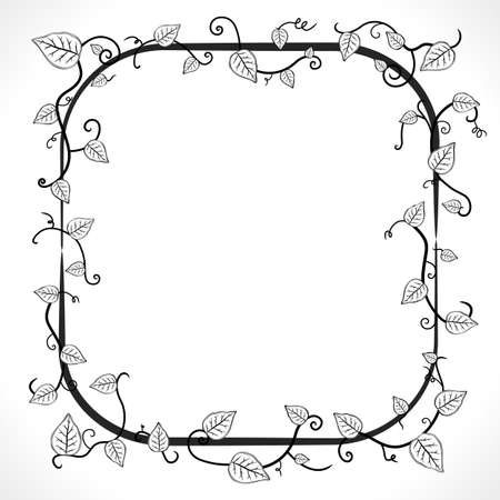 illustration of a black and white vintage floral leaf frame with modern curls and vines. Illustration