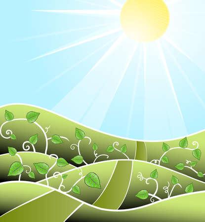 field and sky: illustrazione di un paesaggio stilizzato giornata di sole con fiori e piante swirly strada che porta verso l'orizzonte.