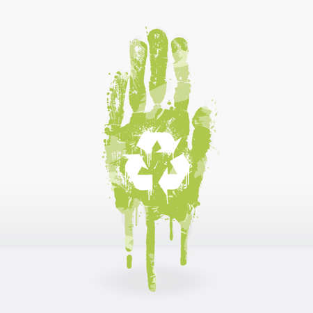 illustration of an ecological concept with a hand splatter with paint drops. Recycling symbol on the palm. Vector