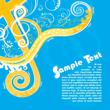 illustration of  a violin key modern trendy floral design with funky swirls and curls and peaceful blue and orange colors. With sample text for lorem ipsum placement. Vector
