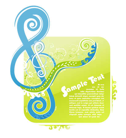 illustration of a violin key modern trendy floral design with funky swirls and curls and peaceful natural colors. With sample text for lorem ipsum placement.