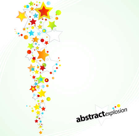 illustration of a starry rainbow explosion design background.