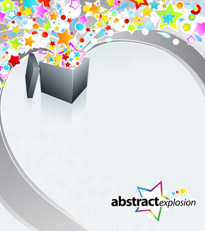 illustration of a surprise gift box exploding into a flow of rainbow stars and bubbles. Stock Illustration - 6953266