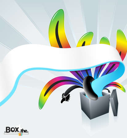 illustration of a beautiful magic box exploding into flows of colorful stripes. illustration