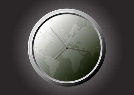 illustration of a glossy glass clock with world map background.
