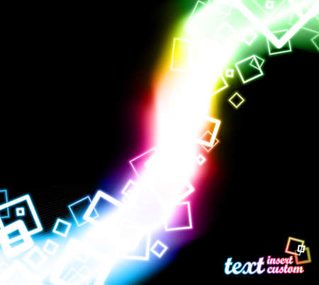 illustration of abstract squares flowing through a rainbow glow. Stock Vector - 7042092