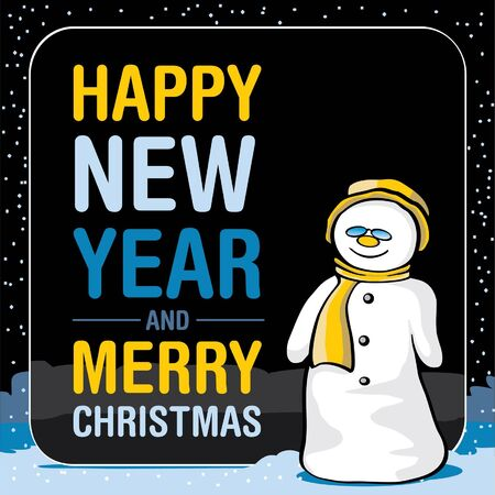 Snowman in the night sky, vector Stock Vector - 15984444