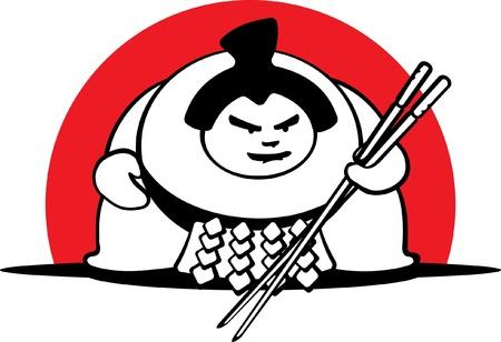 wrestler: fat sumo wrestler holding chopsticks, vector
