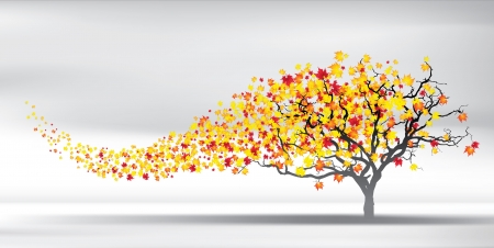 change: autumn wind tears the leaves, vector Illustration