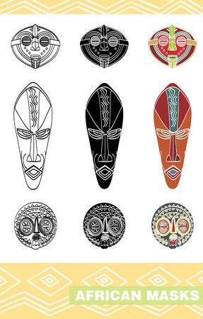 African masks  Stock Vector - 16391529