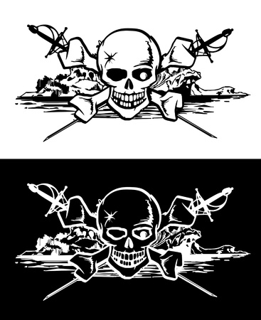 Skull bones amid swords and mysterious island Illustration