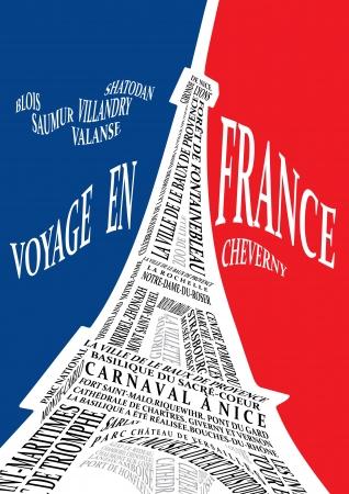 frans: Eiffeltoren van de namen van de attracties Stock Illustratie