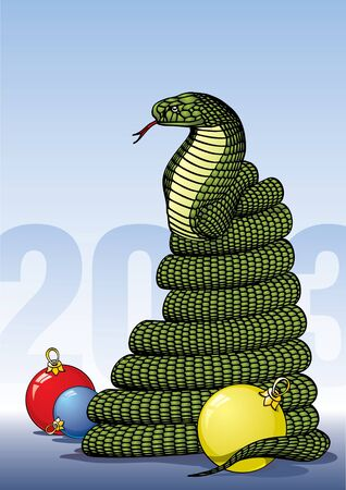 Cobra coiled surrounded by Christmas balls