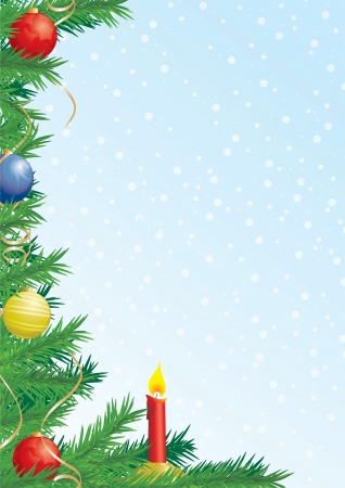 Christmas composition with fir branches, decoration and candle, left  Illustration