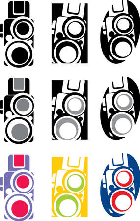 photo camera part 3, vector Illustration