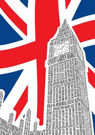 london: Big Ben van de namen van bezienswaardigheden van Londen. vector