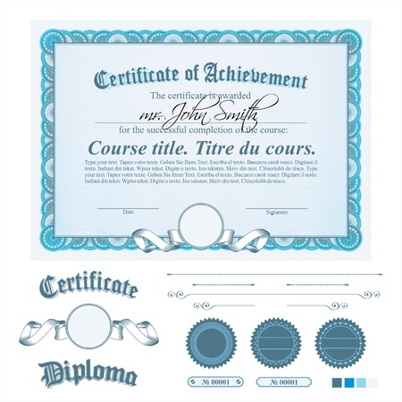 diploma border: Blue certificate template. Horizontal. Additional design elements.