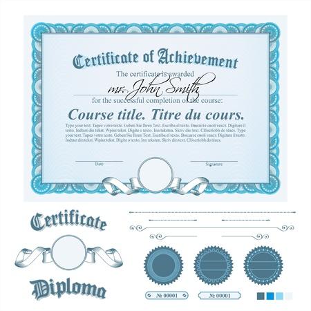diplomas: Blue certificate template. Horizontal. Additional design elements.