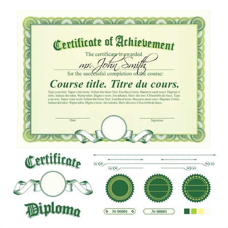 green coupon: Green certificate template. Horizontal. Additional design elements.