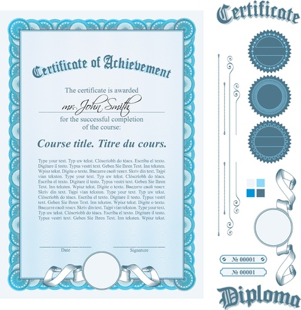 Blue certificate template. Vertical. Additional design elements.