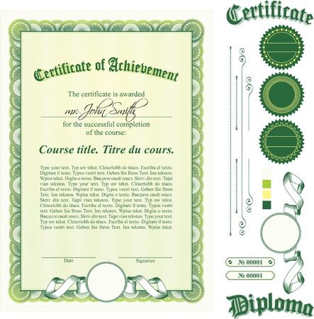 Green certificate template. Vertical. Additional design elements. Иллюстрация