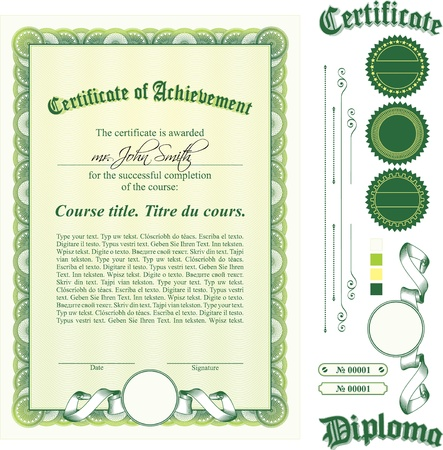 certificate seal: Green certificate template. Vertical. Additional design elements. Illustration
