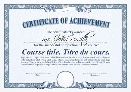 Blue certificate template. Horizontal.