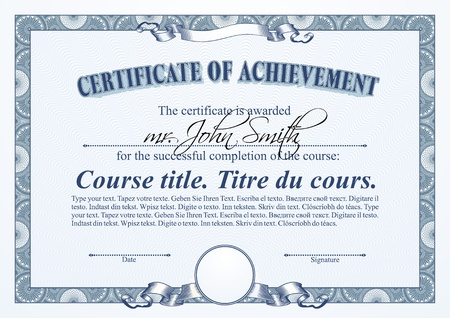 Blue certificate template. Horizontal.