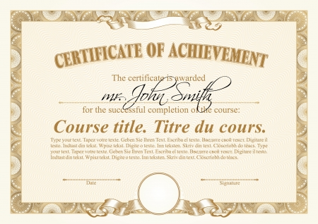 stock certificate: Gold certificate template. Horizontal.