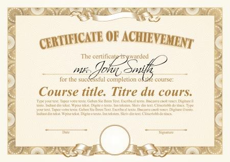 Gold certificate template. Horizontal.
